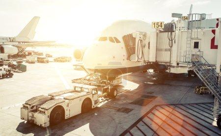 Airplane preparation before boarding