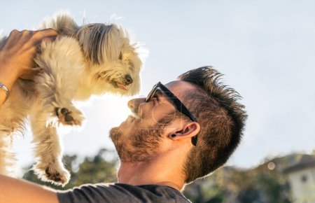 Photo for Dog and his owner - Cool dog and young man having fun in a park - Concepts of friendship,pets,togetherness - Royalty Free Image