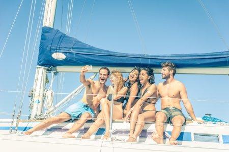 Friends on boat taking a selfie