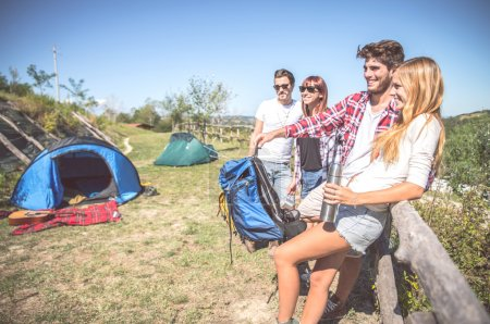 Friends in a campsite