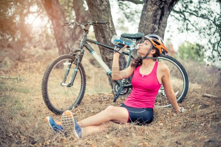 Woman with her mountain bike