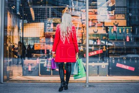 Woman looking window shop