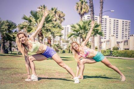 Women training in a park