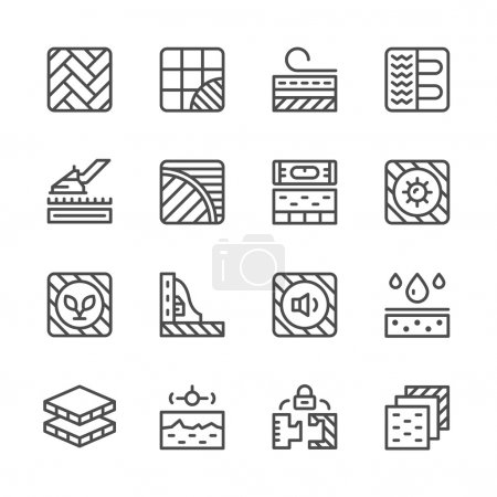 Illustration for Set line icons of floor isolated on white. Vector illustration - Royalty Free Image