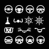 Set icons of steering wheel marine steering helm bicycle and