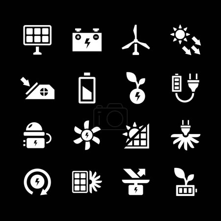 Set icons of alternative energy sources isolated o...