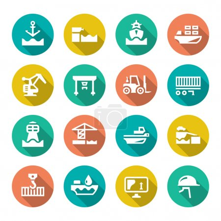 Set flat icons of seaport