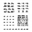 Постер, плакат: Set icons of transport Tractors helicopters water transport