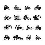 Постер, плакат: Set icons of tractors