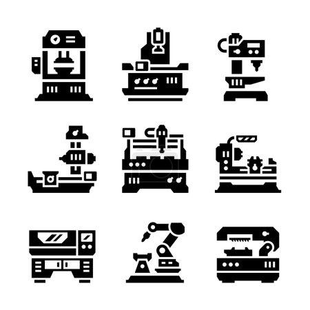 Illustration for Set icons of machine tool isolated on white - Royalty Free Image