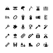 Set icons of camping and mountaineering