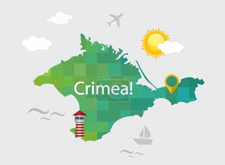 Map of Crimea in the flat style with decorative elements