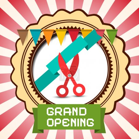 Retro Grand Opening Vector Card with Flags - Label and Scissors with Ribbon