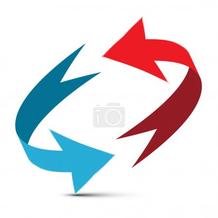 Arrows Illustration. Red and Blue Double Arrow Vector 3D Infinity Symbol