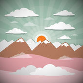 Retro Flat Design Nature Landscape Illustration with Sun, Hills and Clouds