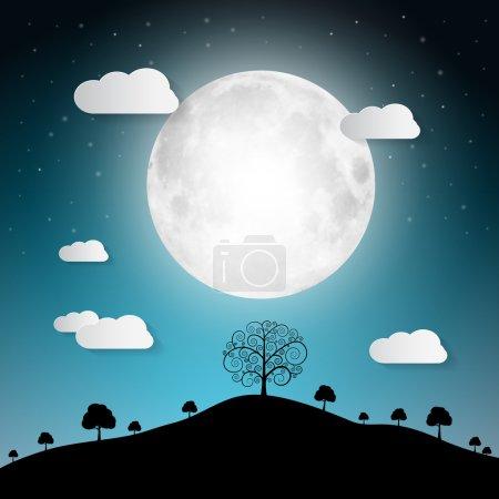 Illustration pour Illustration vectorielle pleine lune avec nuages et arbres sur la colline - image libre de droit