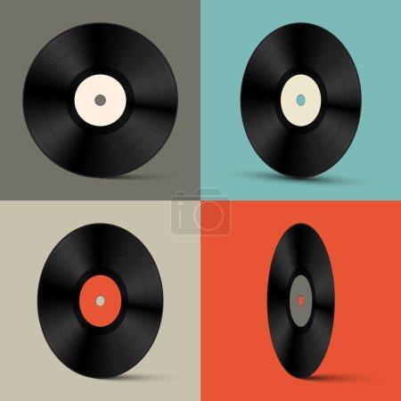 Retro Vector Vinyl Records Set Illustration