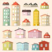 Vektorové plochý Design papíru domy - soubor budov