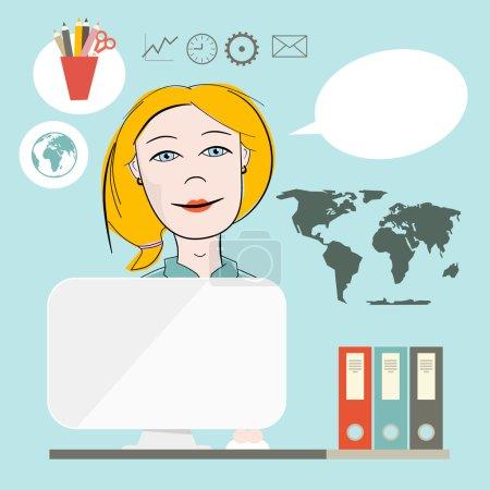 Illustration pour Secrétaire Flat Design Illustration vectorielle sur fond bleu - image libre de droit