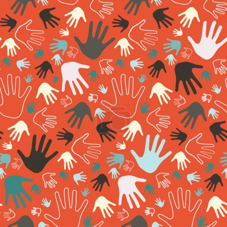 Illustration for Seamless Vector Palm Hands Illustration on Red Background - Royalty Free Image