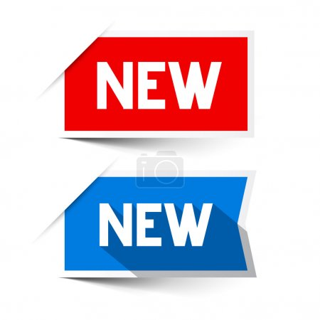 New Red and Blue Vector Paper Labels - Stickers Set