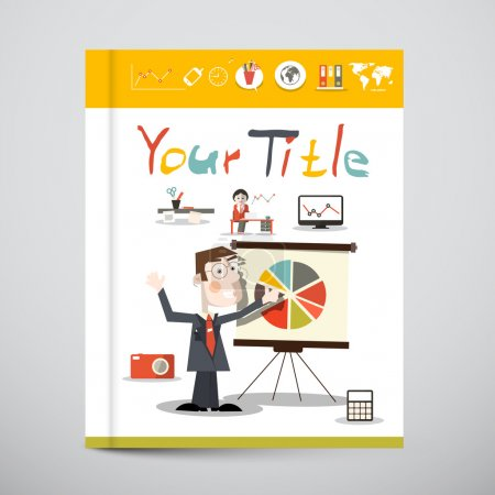 Funky Brochure - Business Book Vector Cover Design  with Graphs and Social Media Icons