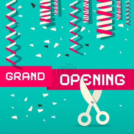 Retro Grand Opening Vector Illustration with Confetti and Scissors