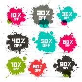 Retro Vector Transparent Colorful Discount Sale Splashes Set Isolated on White Background