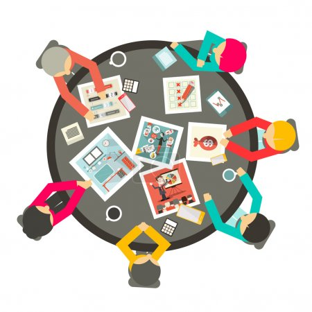 Illustration for People Around the Circle Table Vector Business Meeting Top View Illustration - Royalty Free Image
