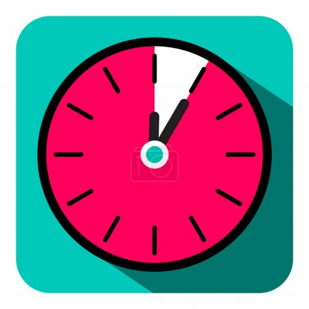 Retro Flat Design Clock - Five Minutes Stop Watch Vector Illustration