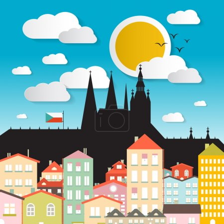 Illustration for Flat Design Vector Prague Castle Illustration - The Cathedral of St Vitus - Czech Republic in Europe - Royalty Free Image