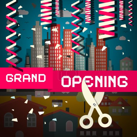 Grand Opening Vector Illustration with Confetti and Scissors on City Background