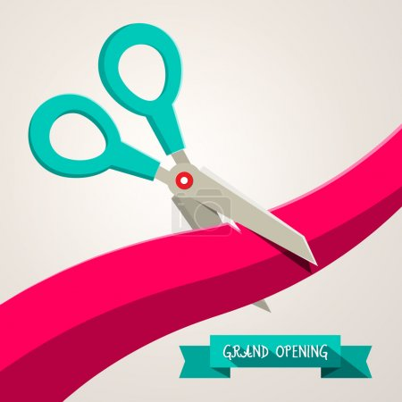 Illustration for Grand Opening Banner. Retro Flat Design Vector Illustration with Scissors and Ribbon. - Royalty Free Image