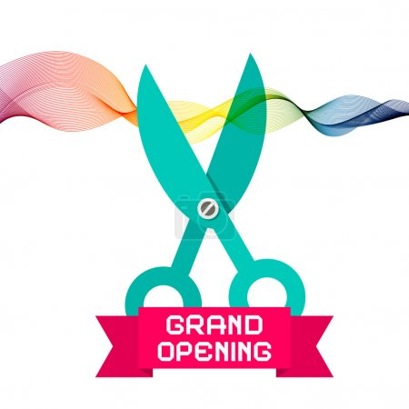 Grand Opening Vector with Scissors and Colorful Wave Ribbon on White Background