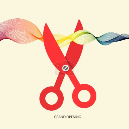 Grand Opening Vector with Scissors and Colorful Wave Ribbon