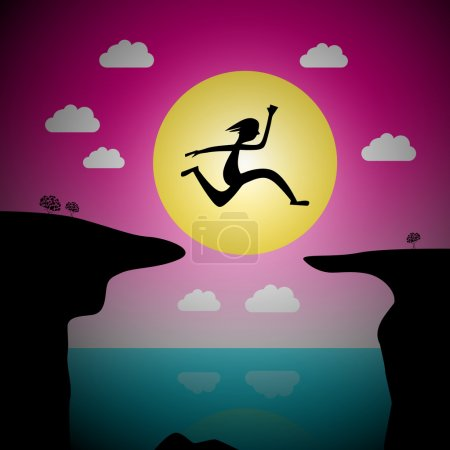 Illustration for Jumping Over Precipice Vector Cartoon - Man or Woman Leap with Ocean and Sea and Sunset Sky - Royalty Free Image