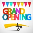 Grand Opening Colorful Vector Title with Scissors,...