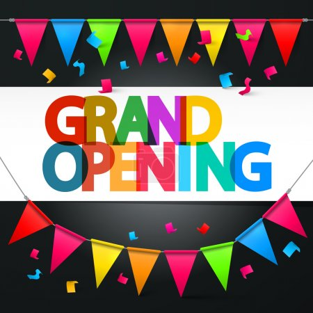 Grand Opening Retro Colorful Vector Title with Colorful Flags and Confetti