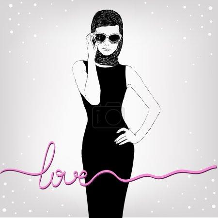 Illustration pour Belle femme rétro, vector. Copiez l'espace. En petite robe noire avec une lunettes de soleil. - image libre de droit