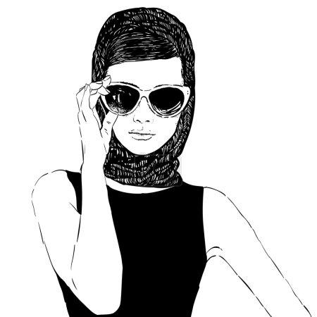 Beautiful retro woman, vector. Copy space. In litt...