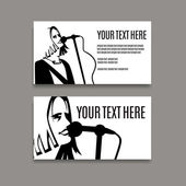 Man with long hair is singing in microphone Card template