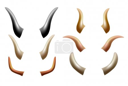 Artiodactyl Animals Horns Set.