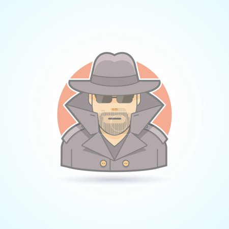 Spy, secret service agent, detective icon. Avatar and person illustration. Flat colored outlined style.