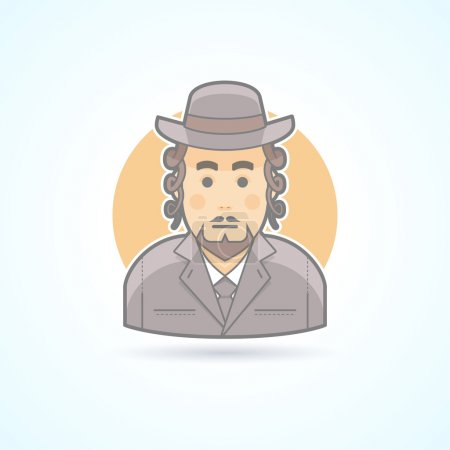 Native, orthodox Jewish man icon. Avatar and person illustration. Flat colored outlined style.