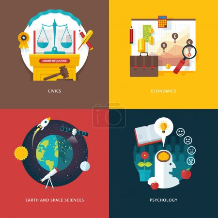 Vector set of flat design illustration concepts for civics study, economics, earth and space sciences, psychology . Education and knowledge ideas. Concepts for web banner and promotional material.