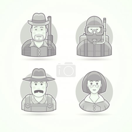 Hunter, scuba diver, village farmer, woman teacher. Set of character, avatar and person vector illustrations. Flat black and white outlined style.