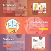 Social science of economics Political economy Court of Justice Study of statistics Exact sciences Civil law Liberal art Education and science banners set Vector design concept