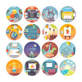 Education and science flat circle icons set  Subjects and science disciplines Vector icon collection