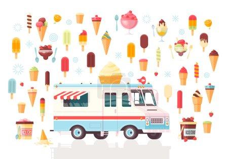 Illustration pour Vecteur plat icônes de crème glacée et camion de crème glacée. Illustration de concept premium coloré. Isolé sur fond blanc . - image libre de droit