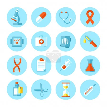 Set of flat vector medical icons.
